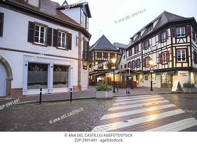 Medieval architecture in Obernai on May 14, 2016 in Alsace France