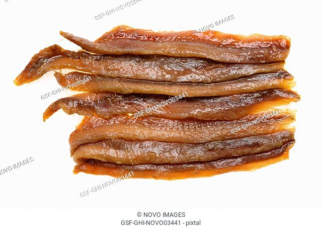 High Angle View of Anchovy Fillets against White Background