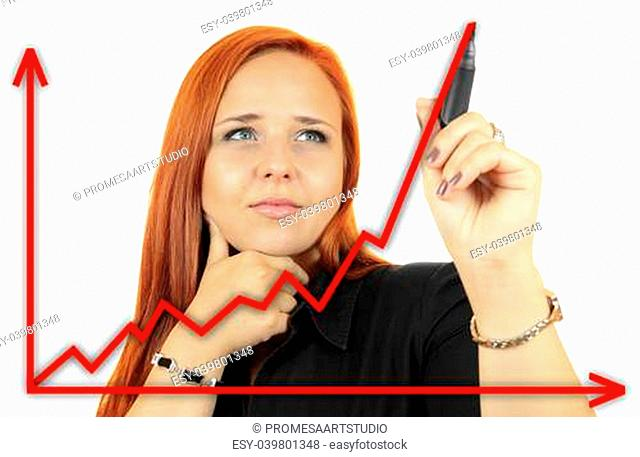 Business success growth chart. Business woman drawing graph showing profit growth on virtual screen. Redhead businesswoman isolated on white background