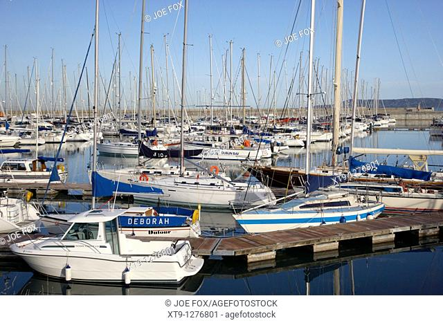 yachts and boats in the royal irish yacht club in howth harbour and marina dun laoghaire dublin republic of ireland