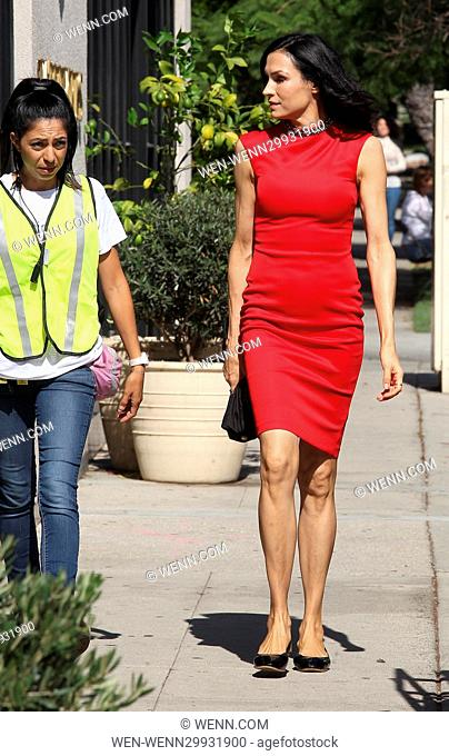 Famke Janssen on the film set of the movie 'A Little Something For Your Birthday' in Beverly Hills Featuring: Famke Janssen Where: West Hollywood, California