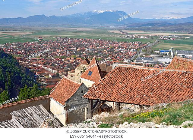 Houses within the Citadel of Rasnov in the background the City, Transylvania, Romania