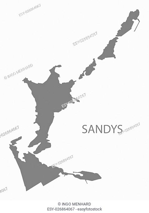 Sandys Bermuda Map in grey