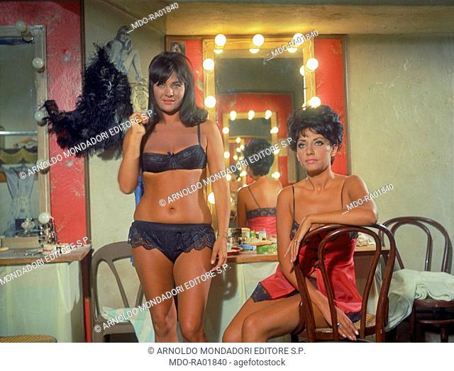 Italian actress Gabriella Giorgelli playing a stripper in the film Maigret a Pigalle. Paris, 1967