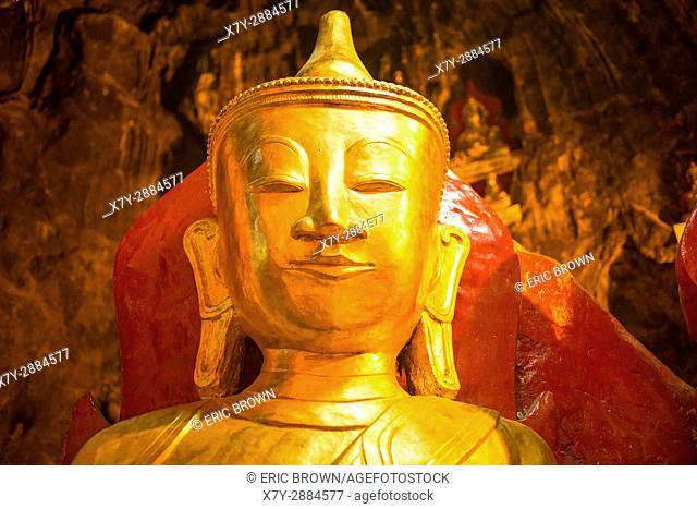 A statue of Buddha in Pindaya Cave, Myanmar