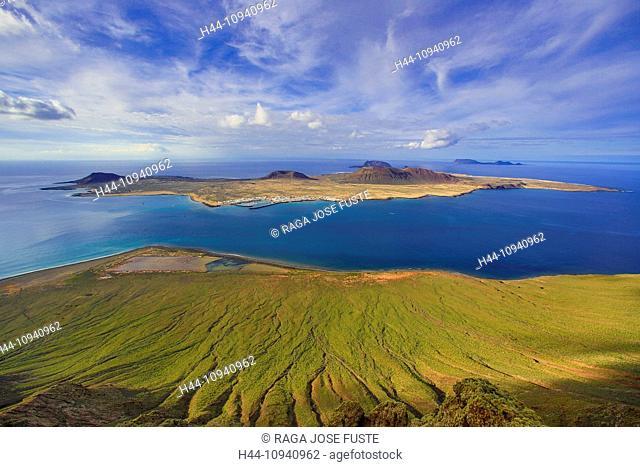 Spain, Europe, Canary Islands, Chinijo, Lanzarote, Mirador del Rio, Natural Park, blue, isla Graciosa, Graciosa, island, lookout, panorama, sea, sunset, travel