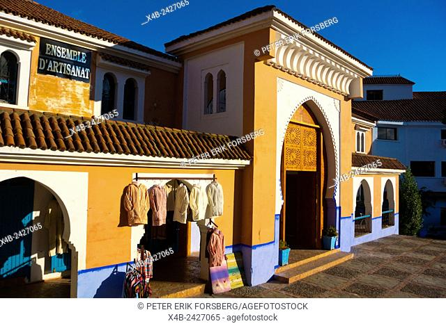 Ensemble d'Artisanat, shop and workshop, Place el-Majzen, Medina, Chefchaouen, Chaouen, Morocco, northern Africa