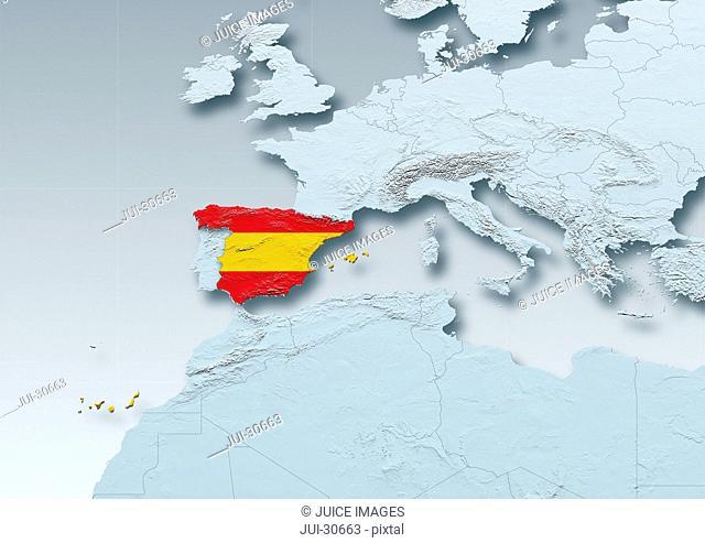 Spain, flag, map, Western Europe, grey, physical, grey, political