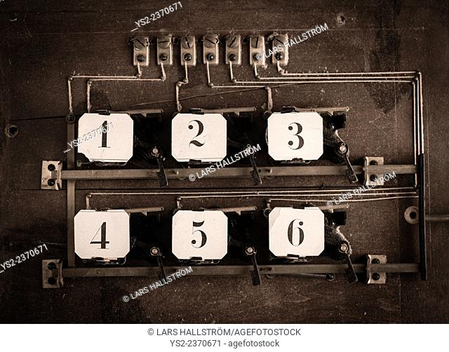 Old fashioned technology with numbers