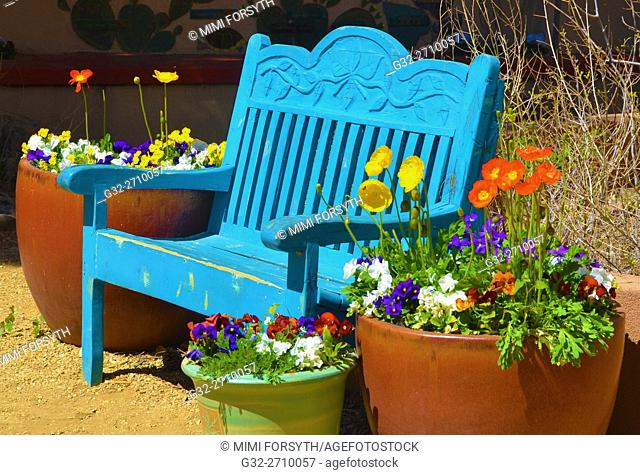 Bench, springtime, with flowers, New Mexico, USA