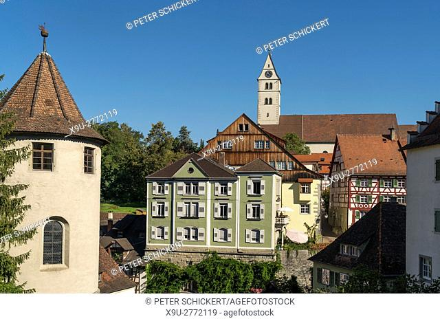Upper town and city church Stadtpfarrkirche in Meersburg at Lake Constance, Baden-Württemberg, Germany,