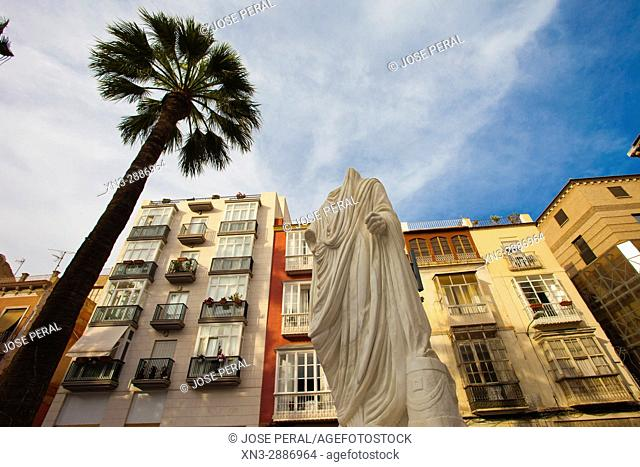 The reproduction in white marble of the Roman statue of Augusto found in the vicinity of the Molinete, Plaza San Francisco (San Francisco), Cartagena City