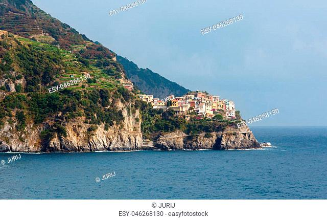 Beautiful summer Manarola view from Corniglia village. This is a famous villages of Cinque Terre National Park in Liguria, Italy