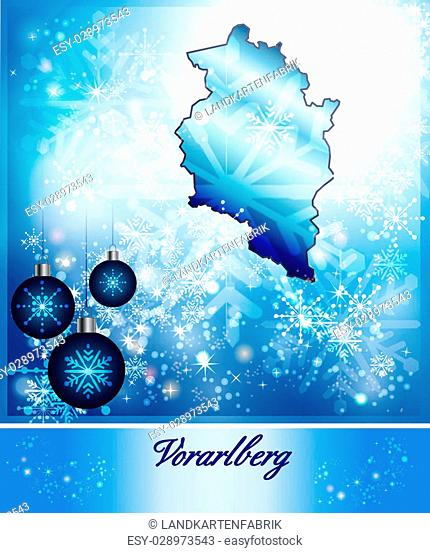 Map of vorarlberg in Christmas Design in blue