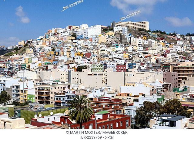 Colourful nested houses, San Juan district, Las Palmas de Gran Canaria, Gran Canaria, Canary Islands, Spain, Europe