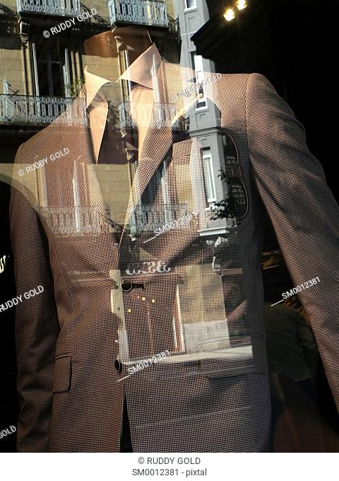 Man's suit in clothing store