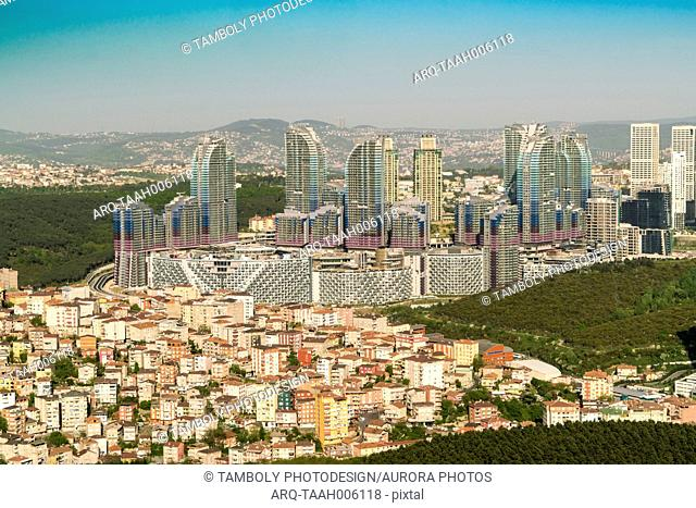 Aerial view of new Istanbul with modern skyscrapers and buildings at European side, Istanbul, Turkey