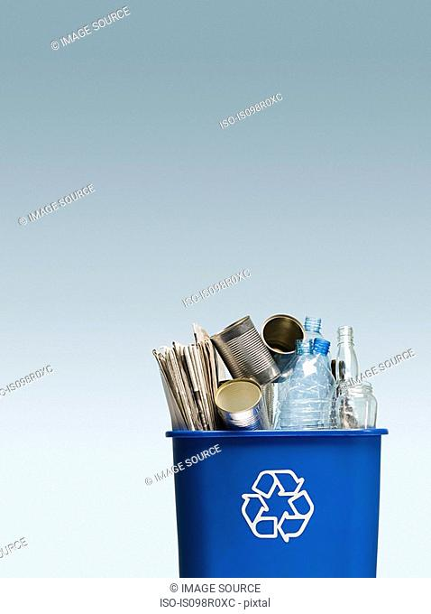 Rubbish in a recycling bin