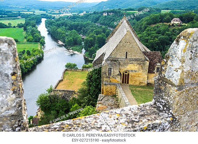 Partial view of Beynac Castle and Dordogne valley in France