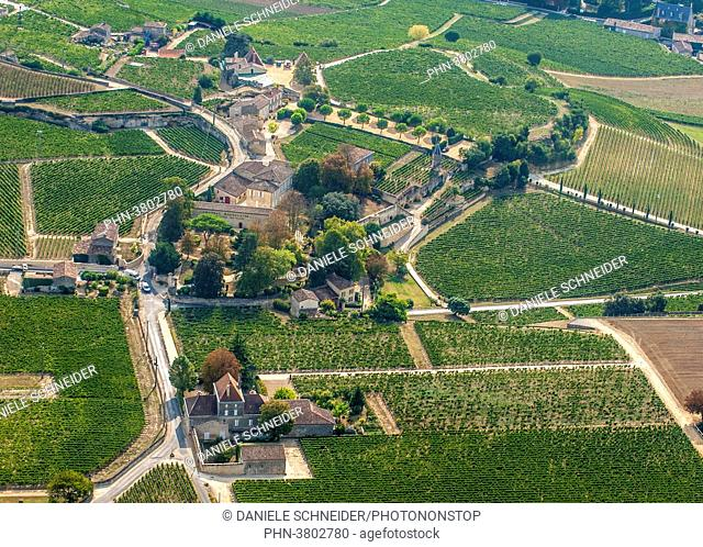 France, Gironde, aerial view of the Chateau Clos la Magdeleine and its AOC St Emilion vineyard (UNESCO World Heritage)