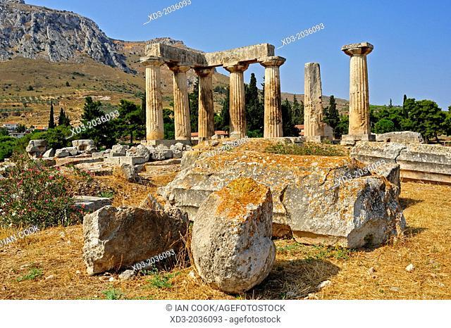Temple of Apollo, ancient Corinth, Peloponnese, Greece