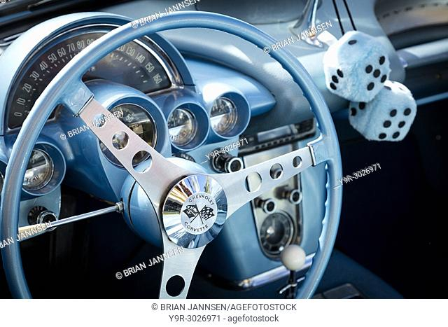 Steering wheel of a 1959 Chevrolet Corvette Stingray on display at 'Cars on 5th' autoshow, Naples, Florida, USA