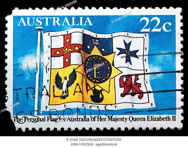 The Personal Flag for Australia of Her Majesty Queen Elizabeth II, postage stamp, Australia