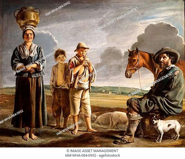 Painting titled 'The Resting Horseman' by Louis Le Nain (1593-1648) a French portrait and one of the three Le Nain brothers. Dated 17th Century