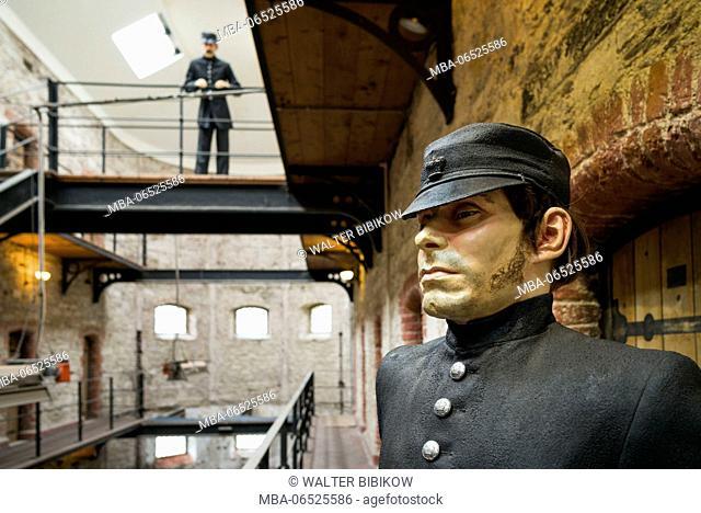Ireland, County Cork, Cork City, Cork City Gaol, jail museum, West Wing, prison guard statues