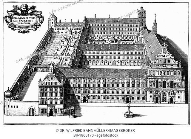 Convent of the Society of Jesus, about 1650, Munich, copper engraving by Matthaeus Merian, Bavaria, Germany, Europe