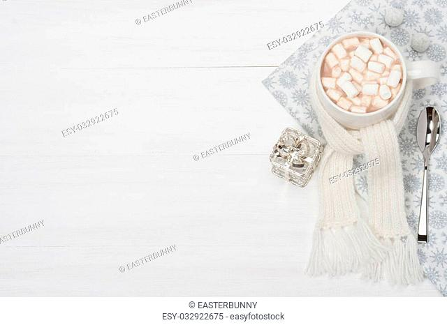 Mug Of Hot Chocolate With Scarf. Marshmallows. Christmas Decorations. Space for Text