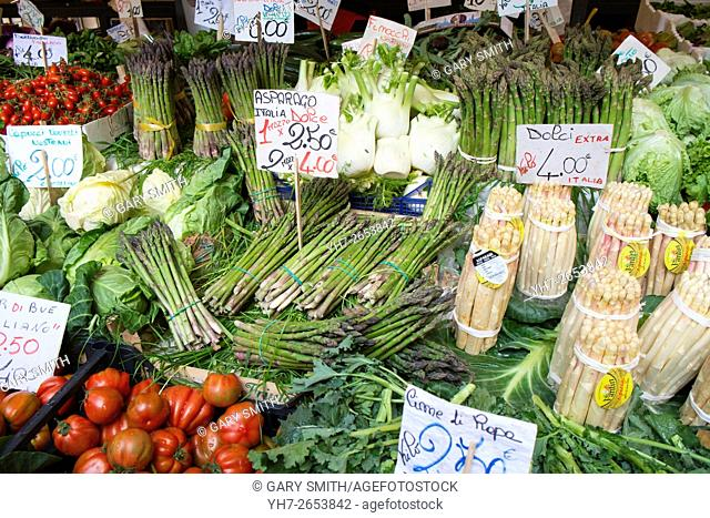Asparagus and fresh vegetables for sale on Rialto Market Venice, Italy, April