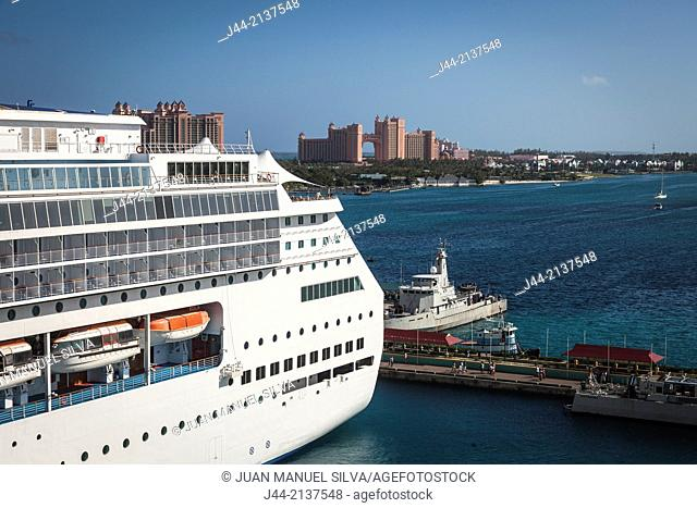 Cruise ship moored at the Nassau port with the Atlantis hotel on Paradise Island in background
