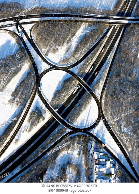 Aerial photo, federal highway B224, junction Gelsenkirchen-Buer-West Nordring, snow, Gelsenkirchen-Buer, Gelsenkirchen, Ruhr Area, North Rhine-Westphalia