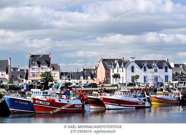 Fishing port landscape and trawlers in Brittany, France