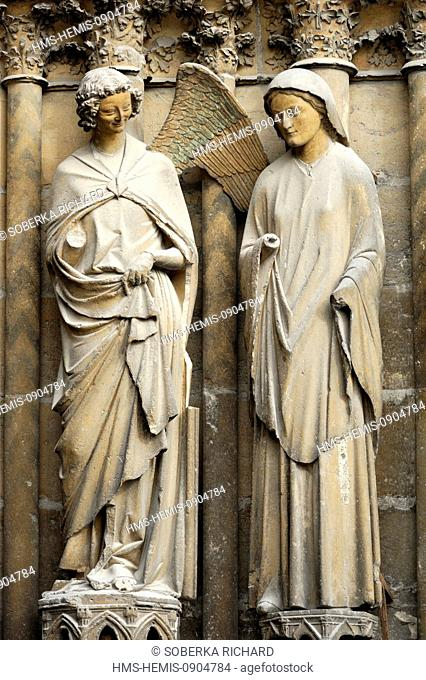 France, Marne, Reims, Notre Dame Cathedral listed as World Heritage by UNESCO, the angel Gabriel also called the twin of the angel smile