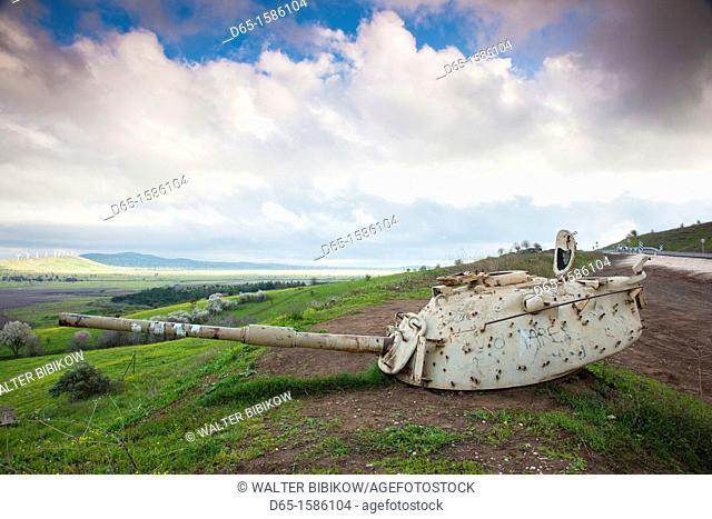 Israel, Golan Heights, MItzpe Quneitra, turret of Israeli tank points to Syrian town of Qunietra