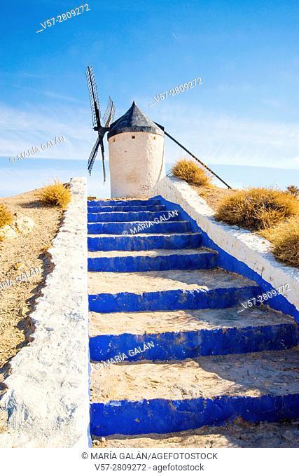 Windmill and stairs. Consuegra, Toledo province, Castilla La Mancha, Spain