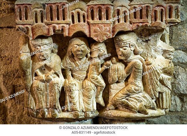 Capital depicting the Adoration of the Magi in Santa Maria la Real church, Piasca, Cabezon de Liebana, valley of Liebana, Picos de Europa National Park