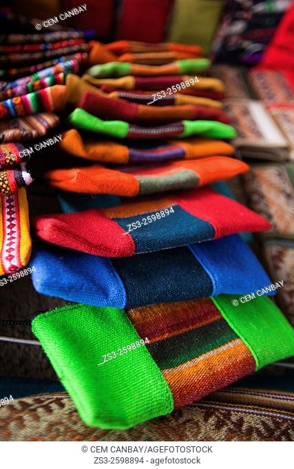 Colorful andean purses and wallets for sale at the music shop, La Paz, Bolivia, South America