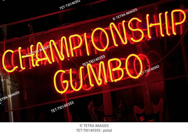 Illuminated Championship Gumbo sign on Beale Street