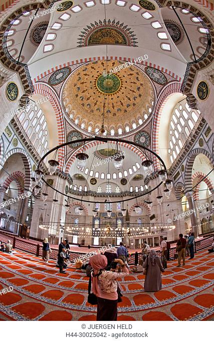 Interior of Suleymaniye Mosque, Istanbul, Turkey , Europe