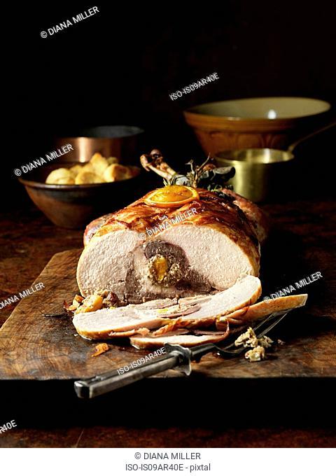 Carved four bird roast