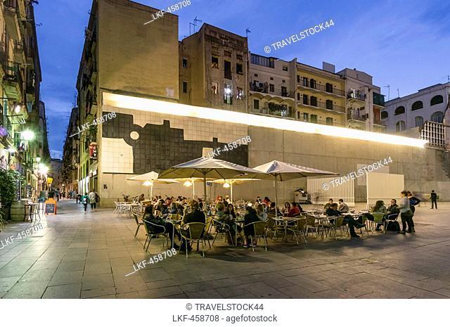 Street Cafes near MACBA, Raval, Barcelona, Spain
