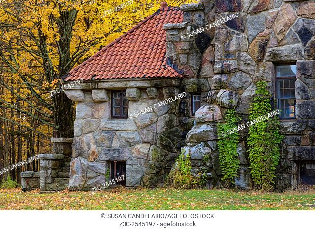 Mohonk Gatehouse - Close up view of the Mohonk Gatehouse surrounded by the warm and bright colors of fall foliage which make this area of New Paltz
