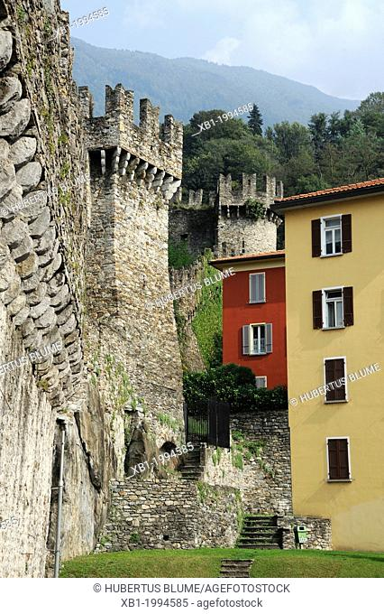 The Murata or city wall - Bellinzona is the administrative capital of the canton Ticino in Switzerland. The city is famous for its three castles (Castelgrande