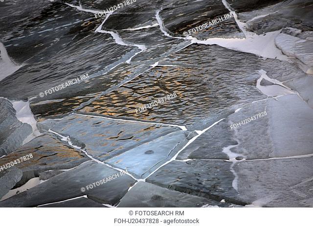 cracks, ice, canada, alberta, pothole, cracked