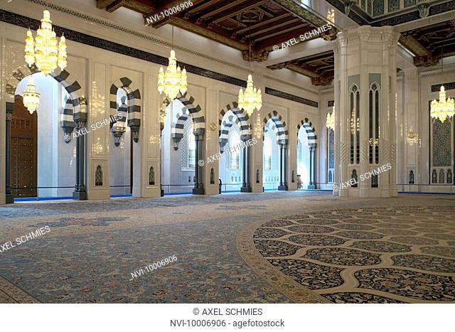 Prayer room, Sultan Qaboos Grand Mosque, Muscat, Sultanate of Oman, Middle East