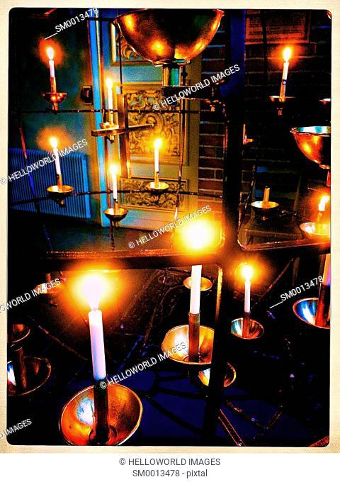 Candles in Storkyrkan (Stockholm Cathedral), Gamla Stan, Stockholm, Sweden, Scandinavia