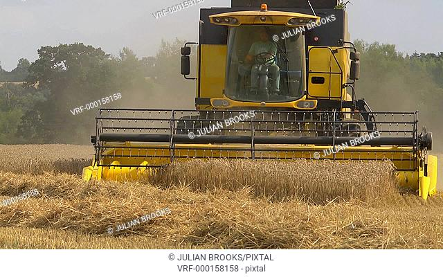 close up combine harvester head on finishing a row - turning - 4:2:2 file